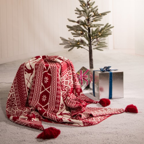 Glitzhome Knitted Snowflake Acrylic Tassels Throw Blanket Perspective: left