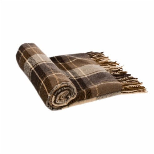 Glitzhome Acrylic Plaid Woven Tassel Throw Blanket Perspective: left