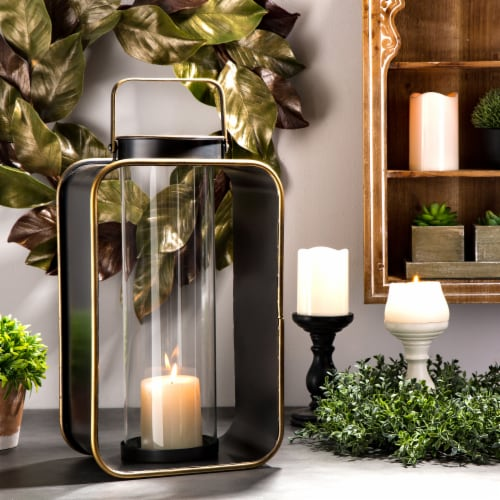 Glitzhome Industrial Metal Candle Lantern Home Decoration - Brown Perspective: left
