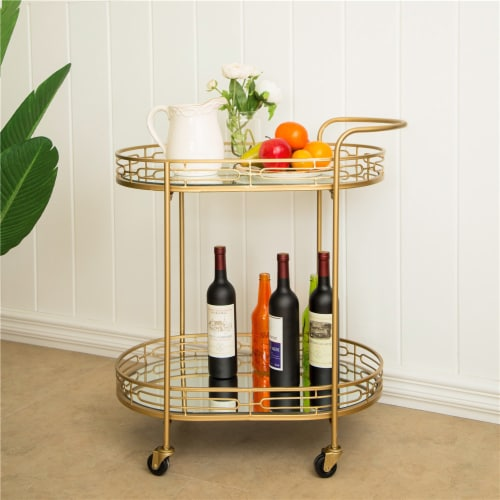 Glitzhome Deluxe Metal Oval Mirrored Bar Cart with 2 Shelves Perspective: left