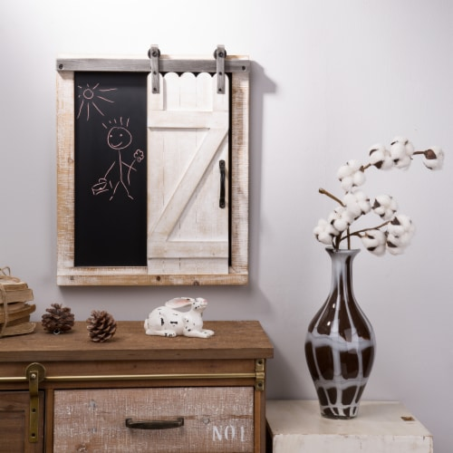 Glitzhome Farmhouse Barn Door Wooden Chalkboard Wall Decor Perspective: left