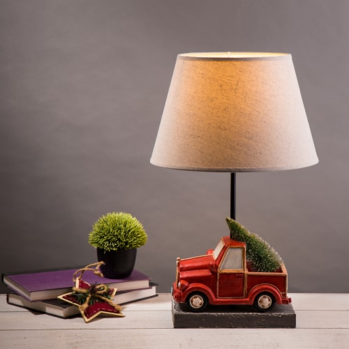 Glitzhome Christmas Truck Table Lamp with Burlap Shade Perspective: left