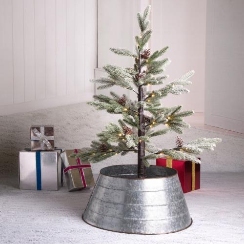 Glitzhome Galvanized Metal Tree Collar - Silver Perspective: left