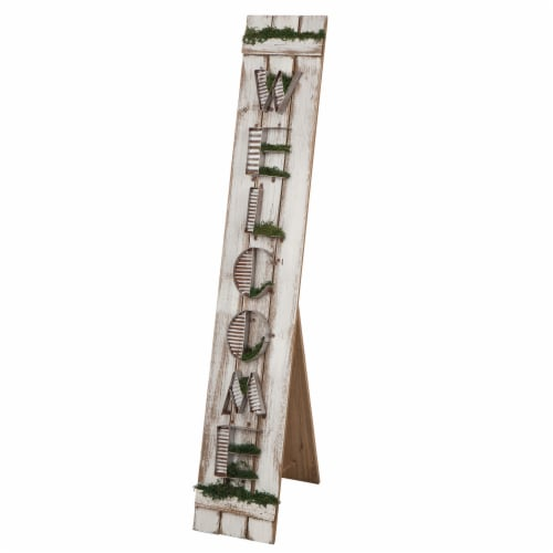 Glitzhome Wood and Metal Welcome Standing Porch Sign Perspective: left