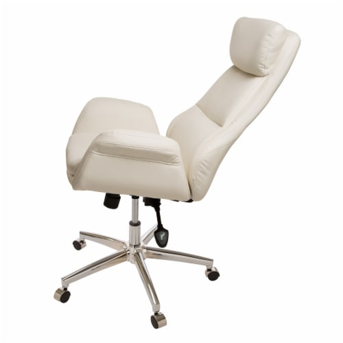 Glitzhome Mid-Century Modern Bonded Leather Gaslift Adjustable Swivel Office Chair - Cream Perspective: left