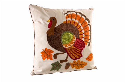 Glitzhome Embroidered Cotton Thanksgiving Turkey Pillow Cover Perspective: left