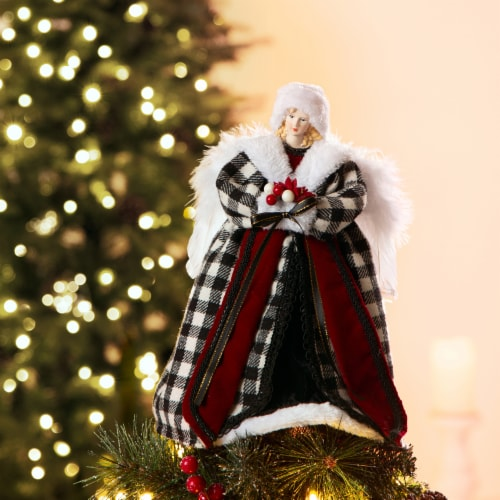 Glitzhome Plaid 3D Angel Figurine Tree Topper - Black/White Perspective: left