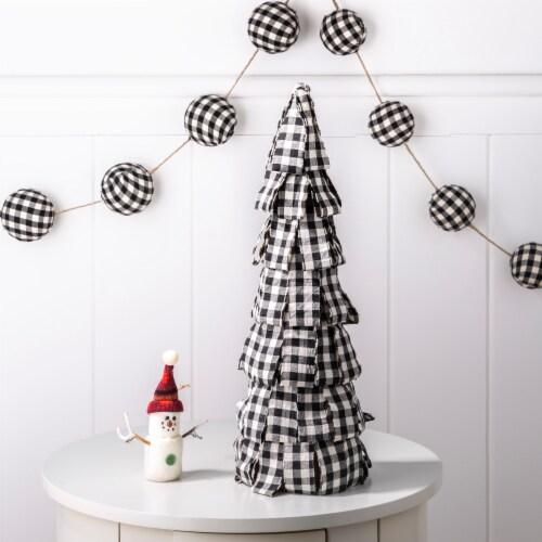 Glitzhome Plaid Fabric Christmas Tree Decor - Black/White Perspective: left