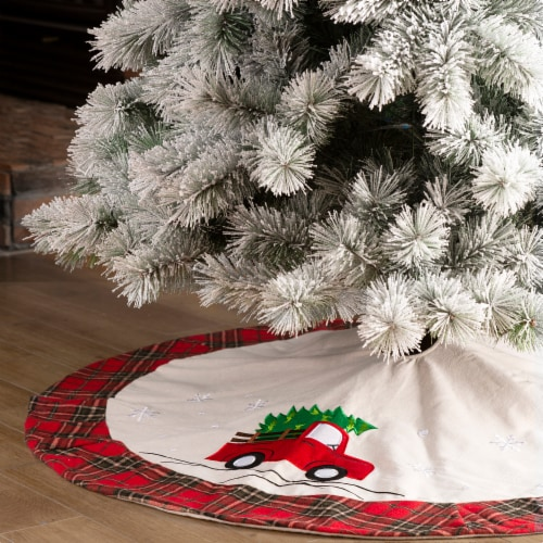 Glitzhome Fabric Christmas Tree Truck Skirt - Light Brown / Red Perspective: left