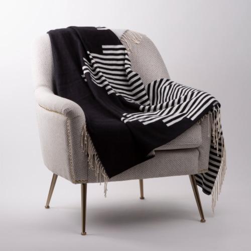 Glitzhome Woven Cotton Geometric Jacquard Tassel Throw Blanket Perspective: left