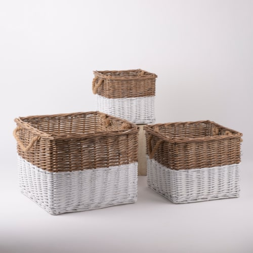 Glitzhome Square Willow Baskets with Rope Handles - Natural/White Perspective: left