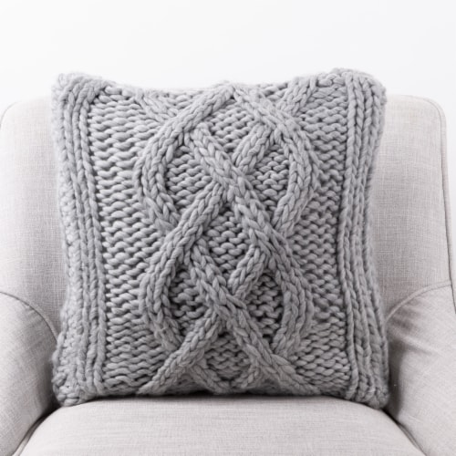 Glitzhome Handmade Acrylic Cable Knit Pillow Cover - Gray Perspective: left