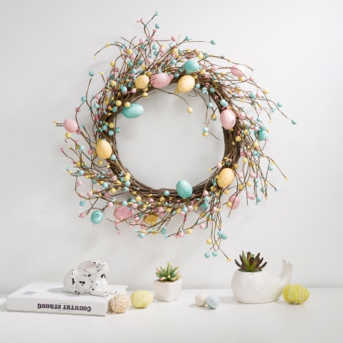 Glitzhome Pastel Easter Egg Wreath Perspective: left