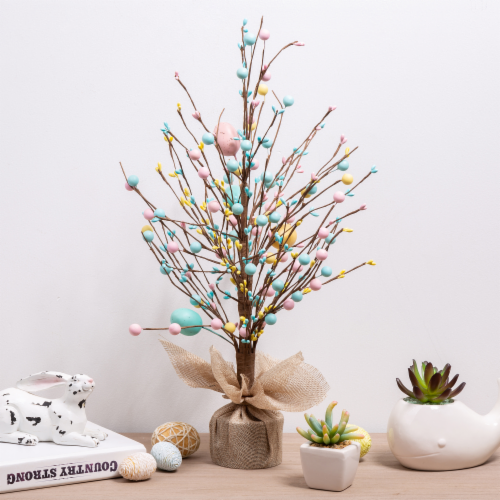 Glitzhome Easter Eggs with Cement Base Table Tree Decoration Perspective: left