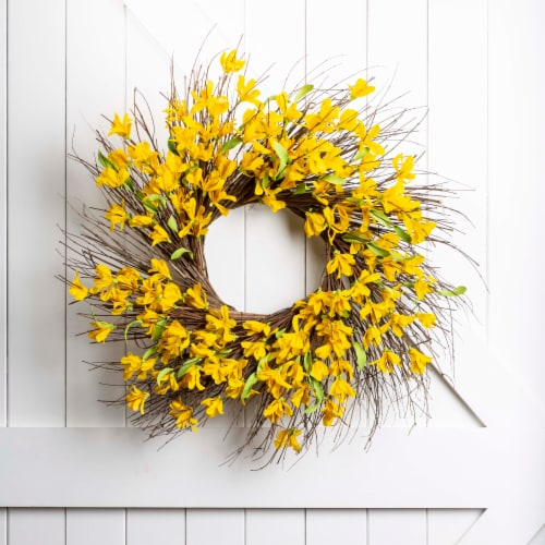 Glitzhome Spring and Summer Artificial Jasmine Wreath Perspective: left