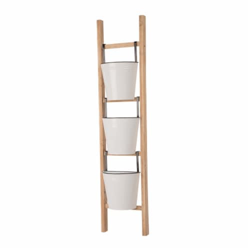 Glitzhome 3-Tier Leaning Ladder Planter Perspective: left