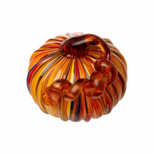Glitzhome Multi-Striped Fall Glass Pumpkin Set Perspective: left