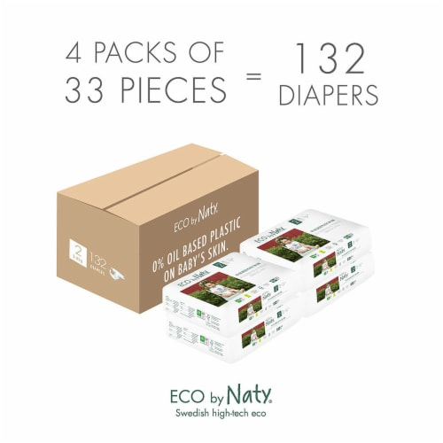Eco by Naty Size 2 Disposable Diapers 132 Count Perspective: left