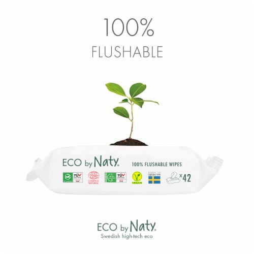Eco by Naty Flushable Unscented Baby Wipes 504 Count Perspective: left