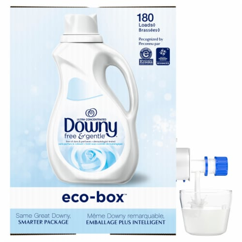 Downy Free & Gentle Fabric Softener Eco-Box Perspective: left