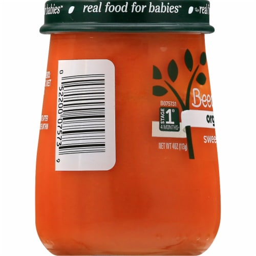 Beech-Nut Organics Just Sweet Potatoes Stage 1 Baby Food Perspective: left
