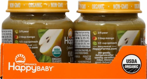 Happy Baby Organics Clearly Crafted Pears Mangos & Spinach Stage 2 Baby Food Perspective: left