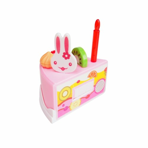 Birthday Cake Play Food Set Pink 75 Pieces Plastic Kitchen Cutting Toy Pretend Play Perspective: left