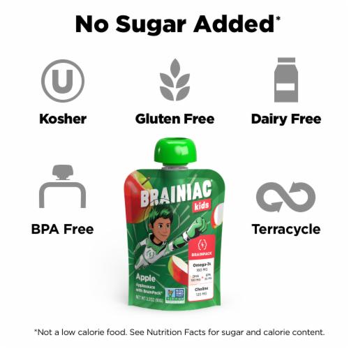 Brainiac Omega-3 Smart Squeezer Applesauce, No Added Sugar, Vitamin C, Apple, 10 Count Perspective: left