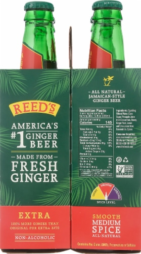 Reed's Extra Ginger Non-Alcoholic Beer Perspective: right