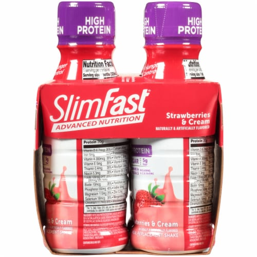 SlimFast Advanced Nutrition Strawberries & Cream Meal Replacement Shakes Perspective: right