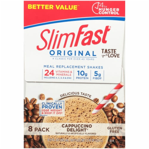 SlimFast Original Cappuccino Delight Meal Replacement Shakes Perspective: right