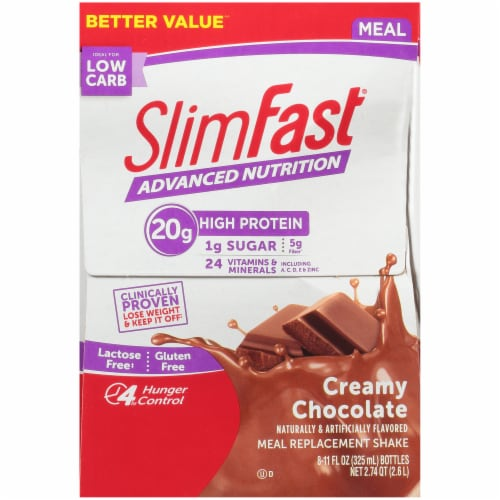 SlimFast Advanced Creamy Chocolate Meal Replacement Shakes Perspective: right