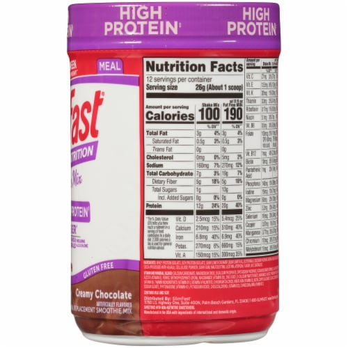 SlimFast Advanced Nutrition High Protein Creamy Chocolate Smoothie Mix Perspective: right