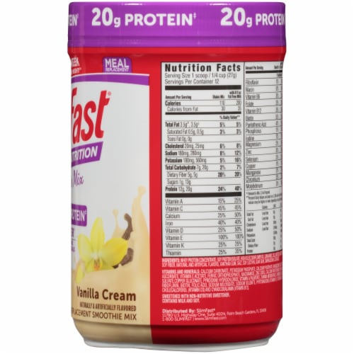SlimFast Advanced Nutrition High Protein Vanilla Cream Smoothie Mix Perspective: right