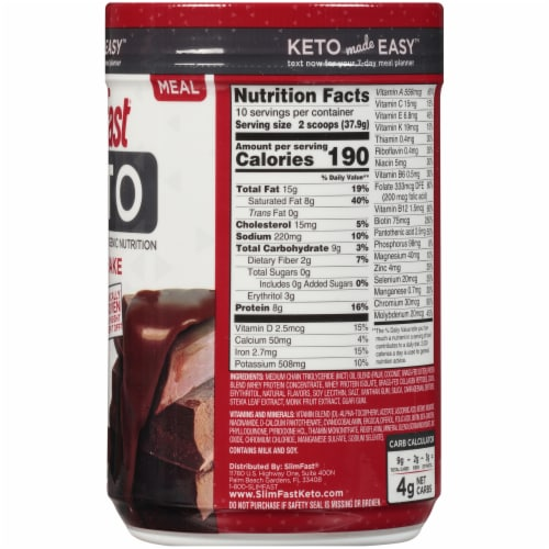 SlimFast Keto Fudge Brownie Batter Meal Shake Mix Perspective: right