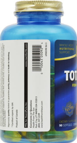 Health From the Sun Omega 3-6-9 the Total EFA 1200 mg Softgels Perspective: right