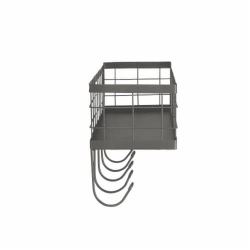 Spectrum Vintage Basket & Hook Station Wall Mount - Gray Perspective: right