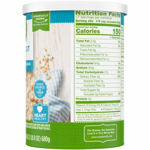 Simple Truth Organic® 100% Whole Grain Steel Cut Oats Perspective: right