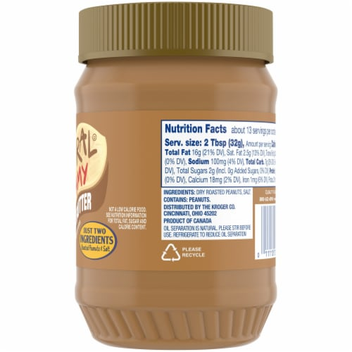 Kroger Natural Creamy Peanut Butter Perspective: right