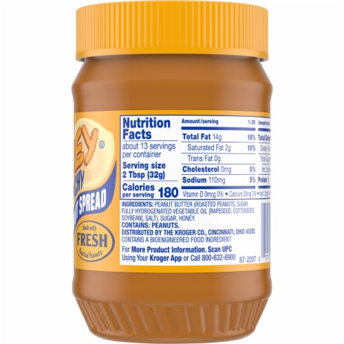 Kroger® Roasted Peanuts & Honey Crunchy Peanut Butter Jar Perspective: right