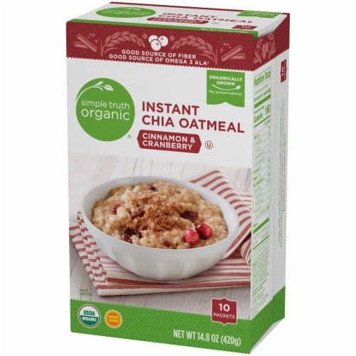 Simple Truth Organic® Instant Cinnamon & Cranberry Chia Oatmeal Packets Perspective: right