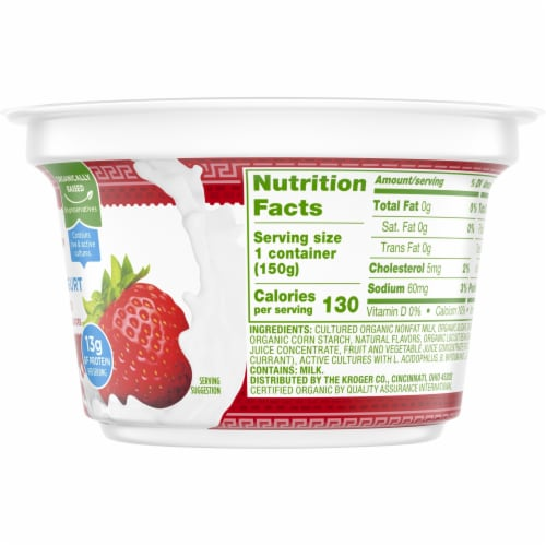 Simple Truth Organic™ Strained Strawberry Greek Nonfat Yogurt Perspective: right