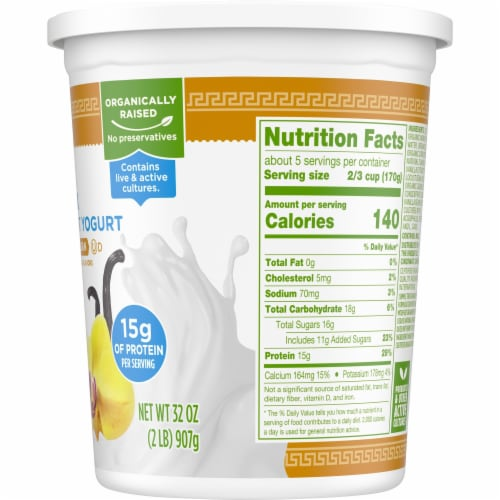Simple Truth Organic® Strained Vanilla Bean Greek Nonfat Yogurt Perspective: right