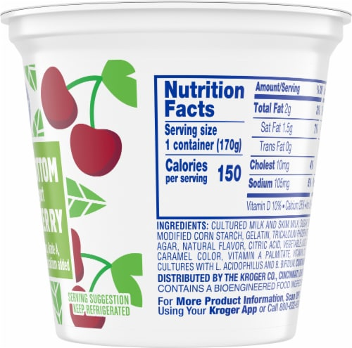 Kroger® Black Cherry Fruit on the Bottom Lowfat Yogurt Perspective: right