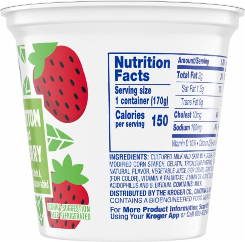 Kroger® Strawberry Fruit on the Bottom Lowfat Yogurt Perspective: right