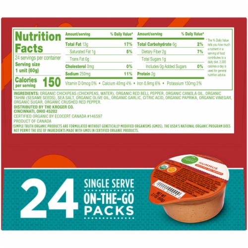 Simple Truth Organic™ Roasted Red Pepper Hummus On-the-Go Packs Perspective: right