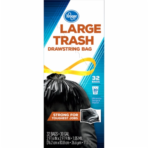 Kroger® Large 30 Gallon Drawstring Trash Bags Perspective: right