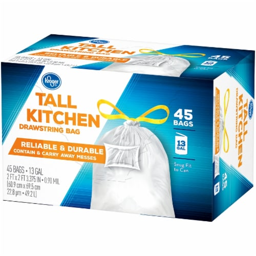 Kroger® Tall 13 Gallon Kitchen Drawstring Bags Perspective: right