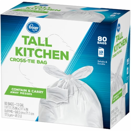 Kroger®  Tall 13 Gallon Kitchen Cross Tie Bags 80 Ct Box Perspective: right
