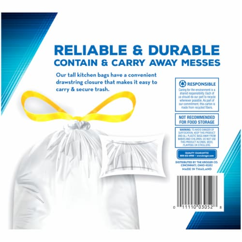 Kroger® Tall 13 Gallon Kitchen Drawstring Trash Bags Perspective: right